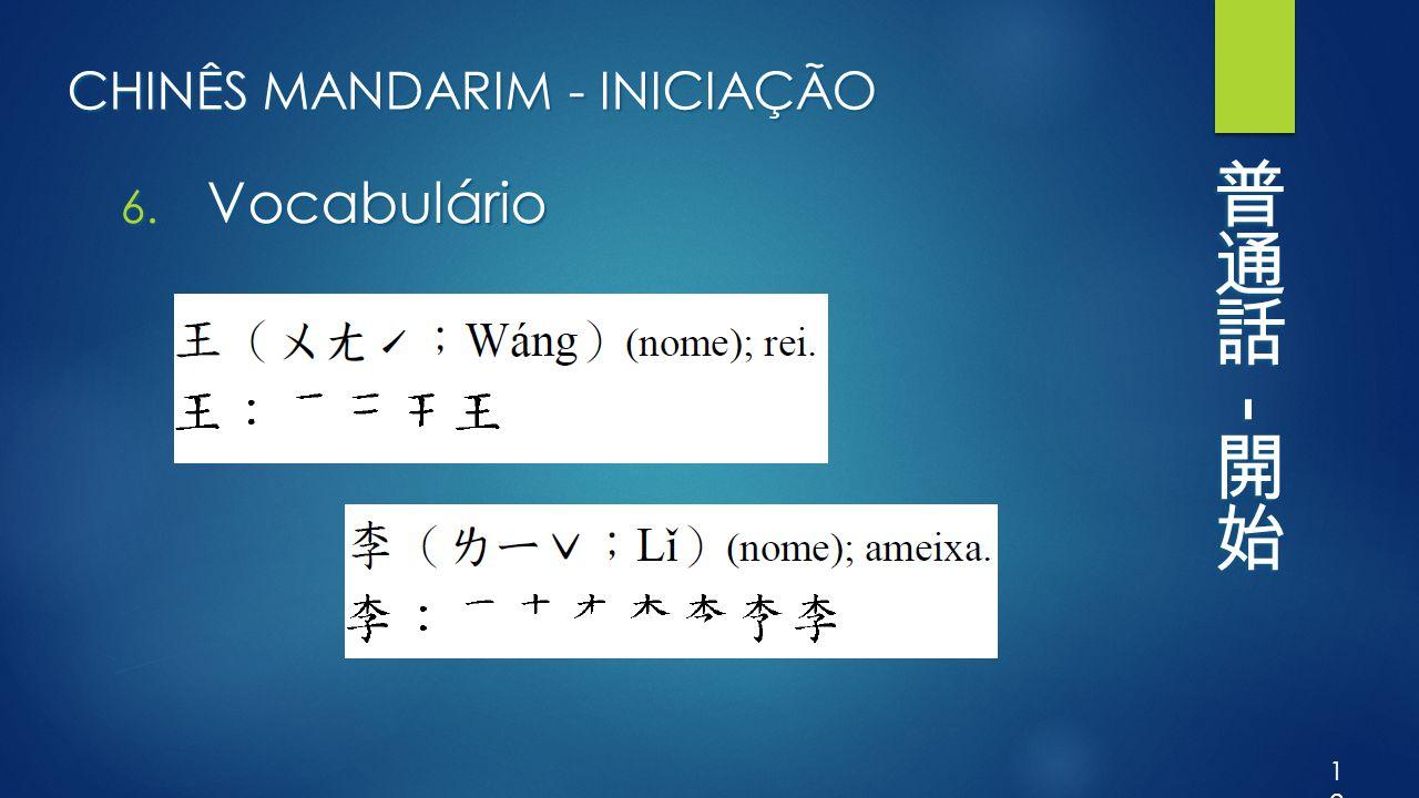 CHINÊS MANDARIM - INICIAÇÃO 6. Vocabulário 12