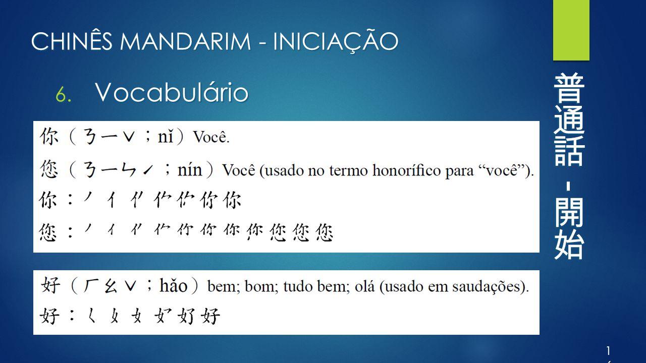 CHINÊS MANDARIM - INICIAÇÃO 6. Vocabulário 16