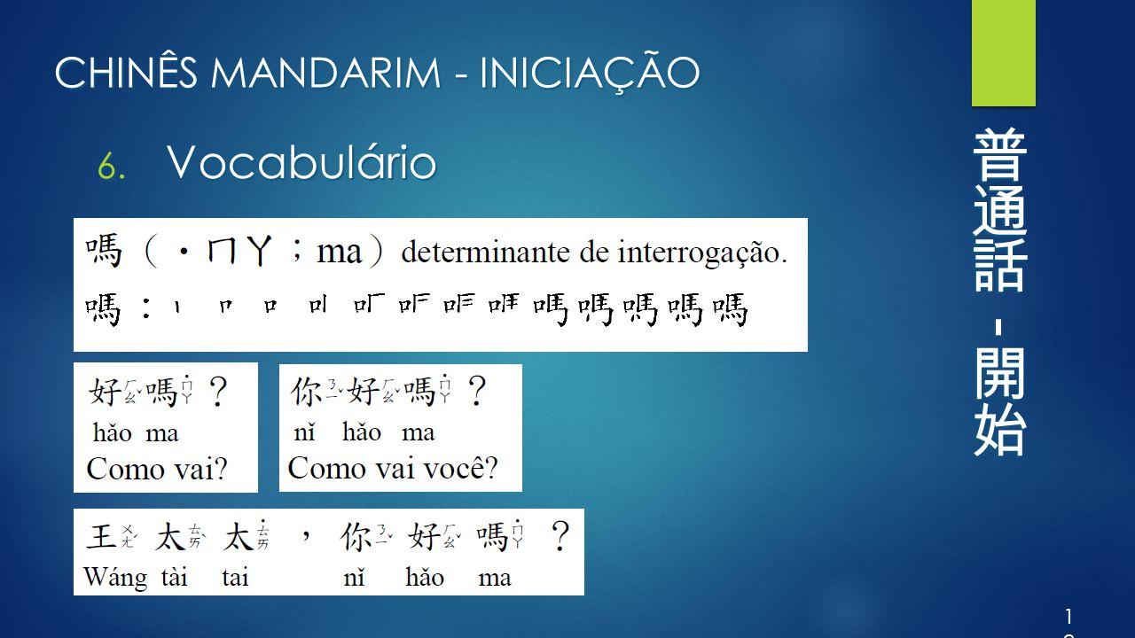 CHINÊS MANDARIM - INICIAÇÃO 6. Vocabulário 18