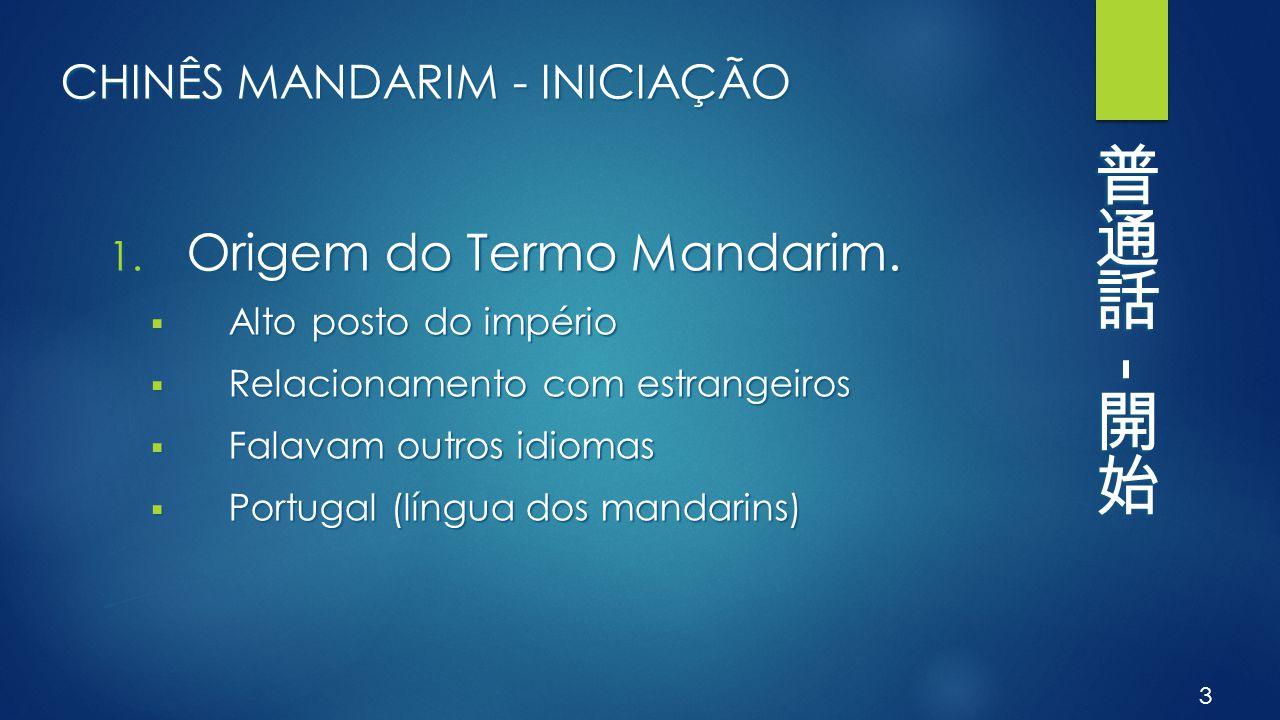 CHINÊS MANDARIM - INICIAÇÃO 1. Origem do Termo Mandarim.  Alto posto do império  Relacionamento com estrangeiros  Falavam outros idiomas  Portugal