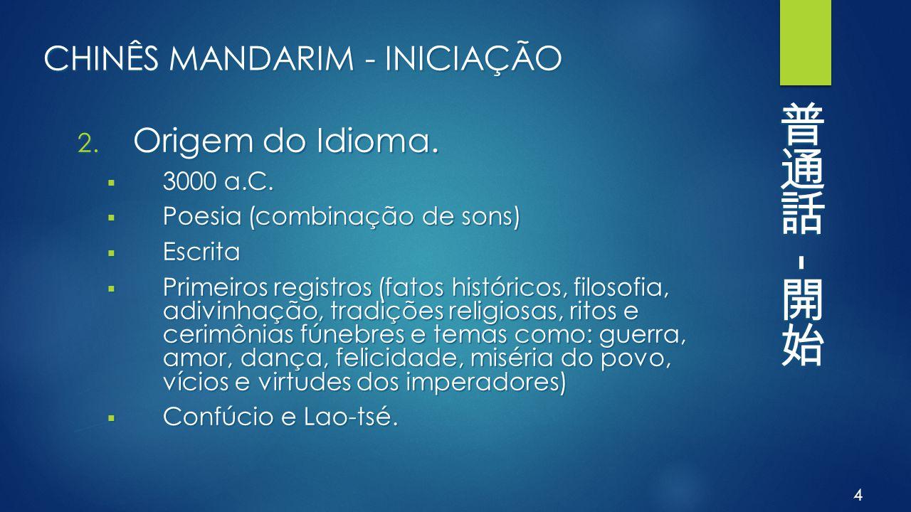 CHINÊS MANDARIM - INICIAÇÃO 2. Origem do Idioma.  3000 a.C.