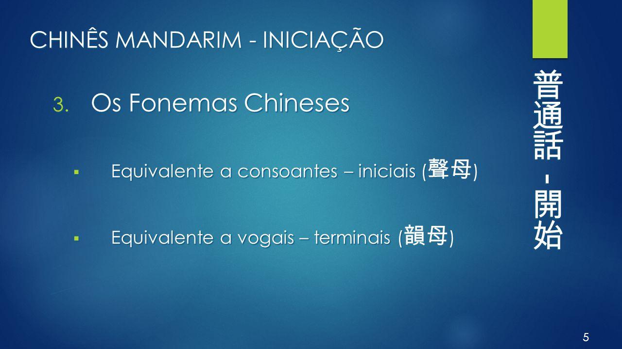 CHINÊS MANDARIM - INICIAÇÃO 3. Os Fonemas Chineses  Equivalente a consoantes – iniciais (  Equivalente a consoantes – iniciais ( 聲母 )  Equivalente