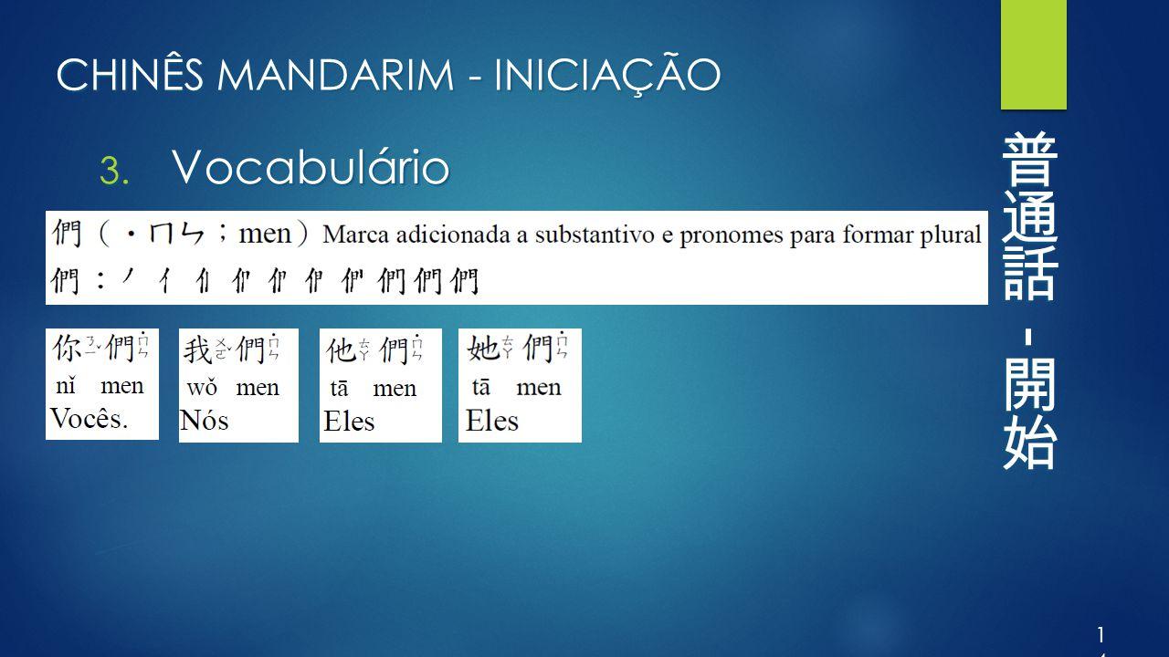 CHINÊS MANDARIM - INICIAÇÃO 3. Vocabulário 14