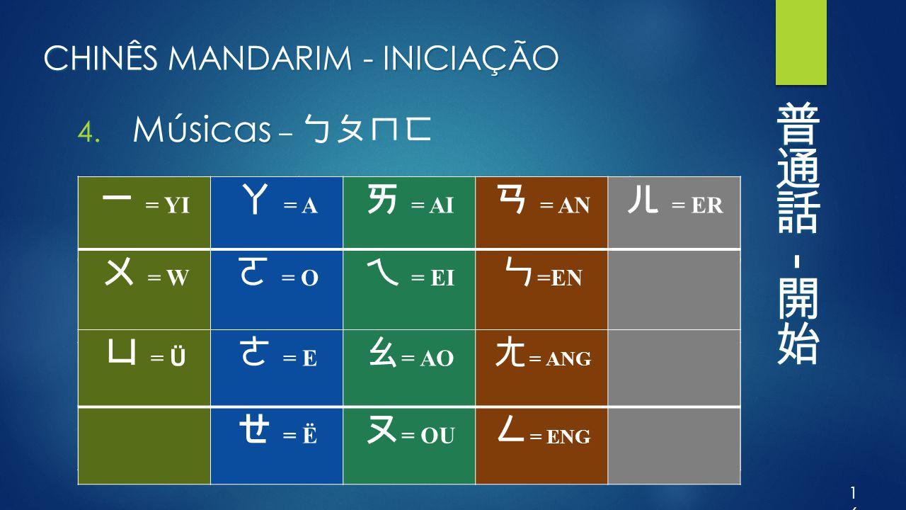 CHINÊS MANDARIM - INICIAÇÃO 4. Músicas 4. Músicas – ㄅㄆㄇㄈ 16 ㄅ = B ㄉ = D ㄍ = G ㄐ = J ㄓ = ZH ㄗ = Z ㄆ = P ㄊ = T ㄎ = K ㄑ = Q ㄔ = CH ㄘ = C ㄇ = M ㄋ = N ㄏ =
