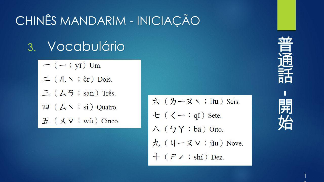CHINÊS MANDARIM - INICIAÇÃO 3. Vocabulário 11