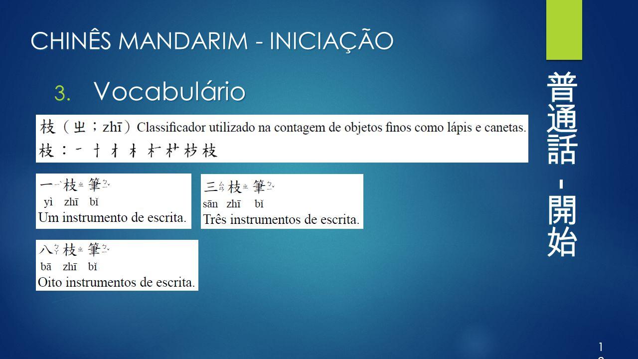 CHINÊS MANDARIM - INICIAÇÃO 3. Vocabulário 12