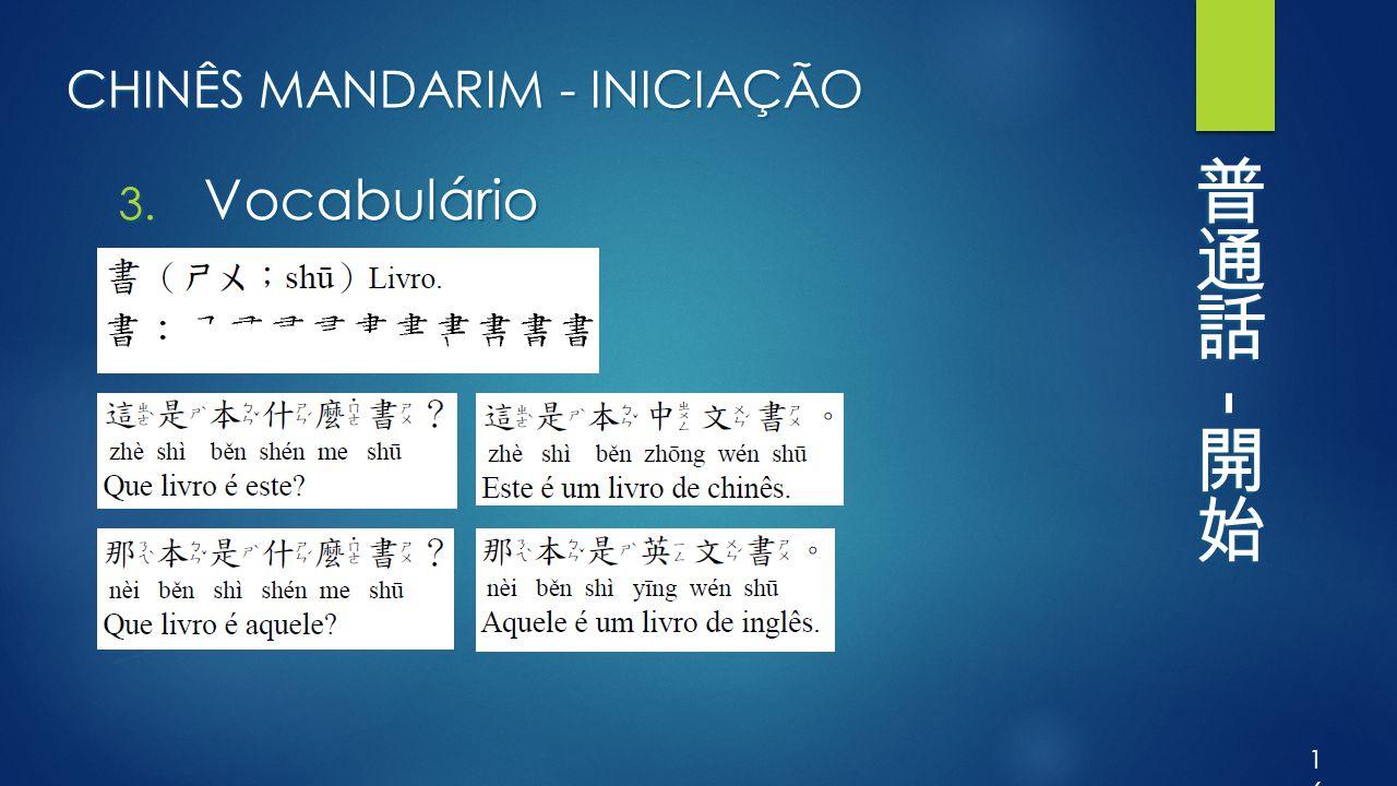CHINÊS MANDARIM - INICIAÇÃO 3. Vocabulário 16