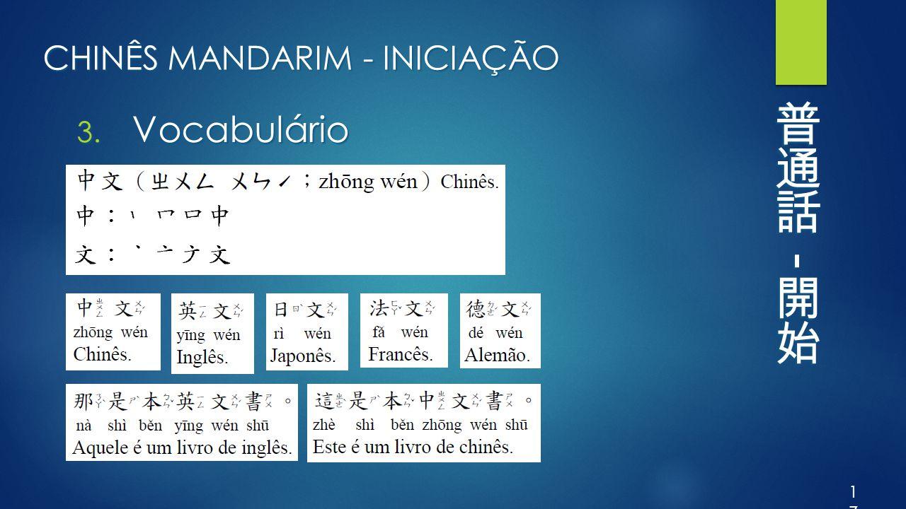 CHINÊS MANDARIM - INICIAÇÃO 3. Vocabulário 17
