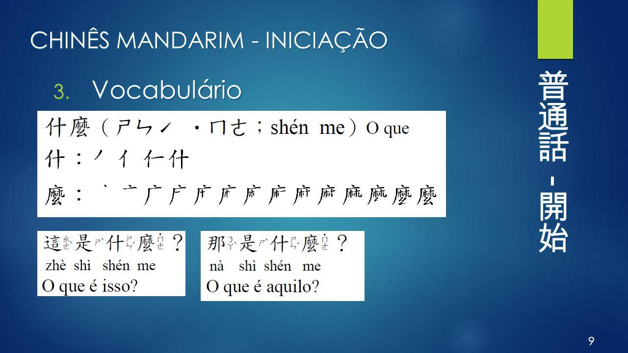 CHINÊS MANDARIM - INICIAÇÃO 3. Vocabulário 9