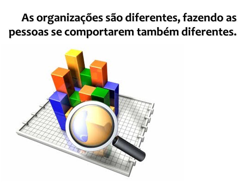 As organizações são diferentes, fazendo as pessoas se comportarem também diferentes.