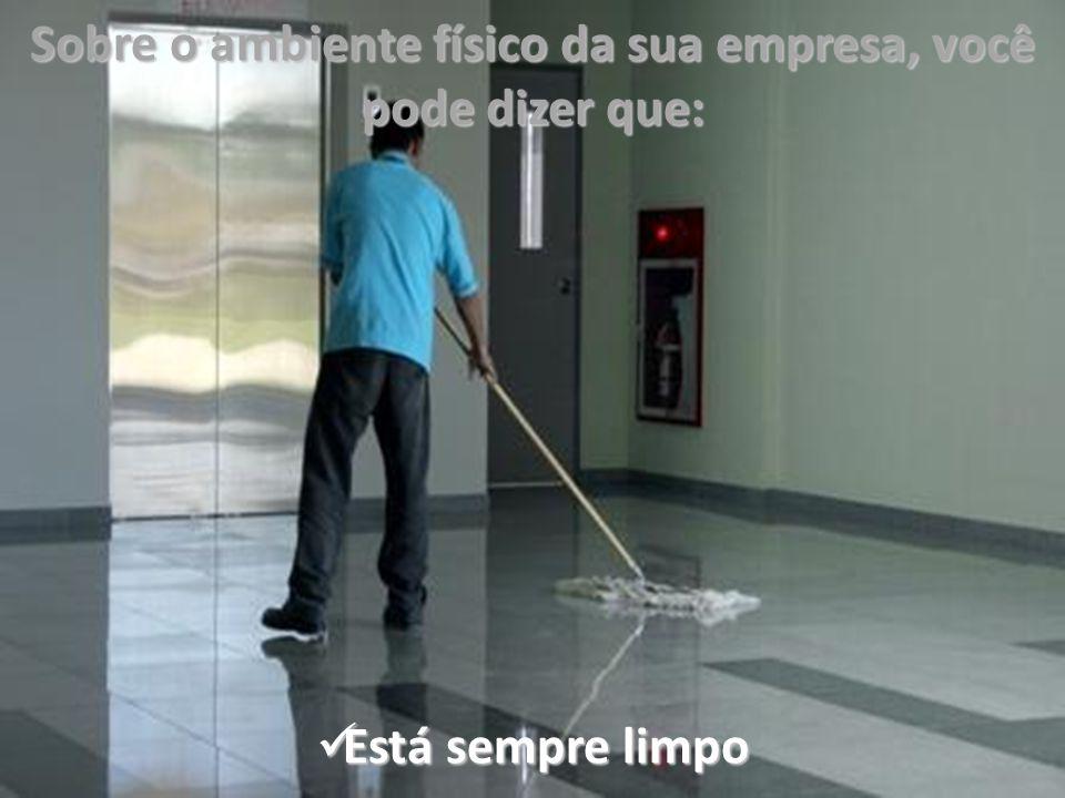 Sobre o ambiente físico da sua empresa, você pode dizer que: Está sempre limpo Está sempre limpo