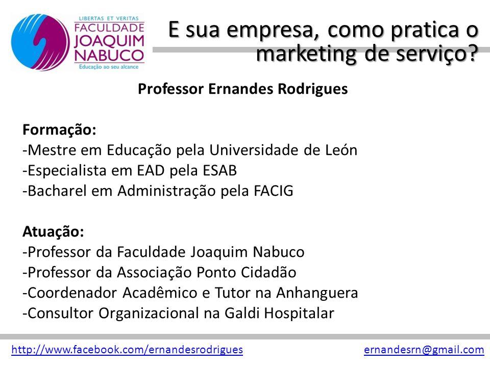 E sua empresa, como pratica o marketing de serviço? http://www.facebook.com/ernandesrodriguesernandesrn@gmail.com Professor Ernandes Rodrigues Formaçã