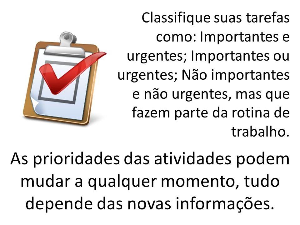 Classifique suas tarefas como: Importantes e urgentes; Importantes ou urgentes; Não importantes e não urgentes, mas que fazem parte da rotina de traba