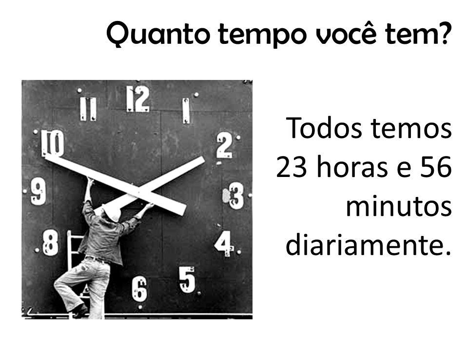 Todos temos 23 horas e 56 minutos diariamente. Quanto tempo você tem?