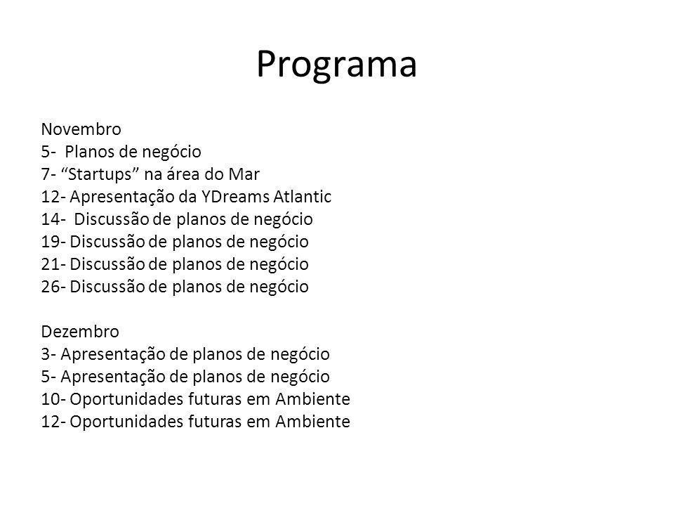 Programa Novembro 5- Planos de negócio 7- Startups na área do Mar 12- Apresentação da YDreams Atlantic 14- Discussão de planos de negócio 19- Discussão de planos de negócio 21- Discussão de planos de negócio 26- Discussão de planos de negócio Dezembro 3- Apresentação de planos de negócio 5- Apresentação de planos de negócio 10- Oportunidades futuras em Ambiente 12- Oportunidades futuras em Ambiente