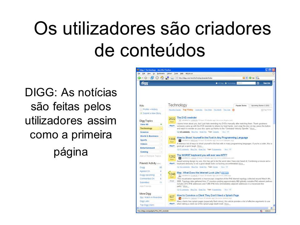 DIGG: As notícias são feitas pelos utilizadores assim como a primeira página Os utilizadores são criadores de conteúdos