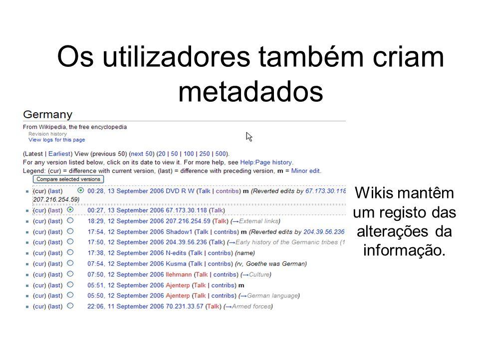 Wikis mantêm um registo das alterações da informação. Os utilizadores também criam metadados