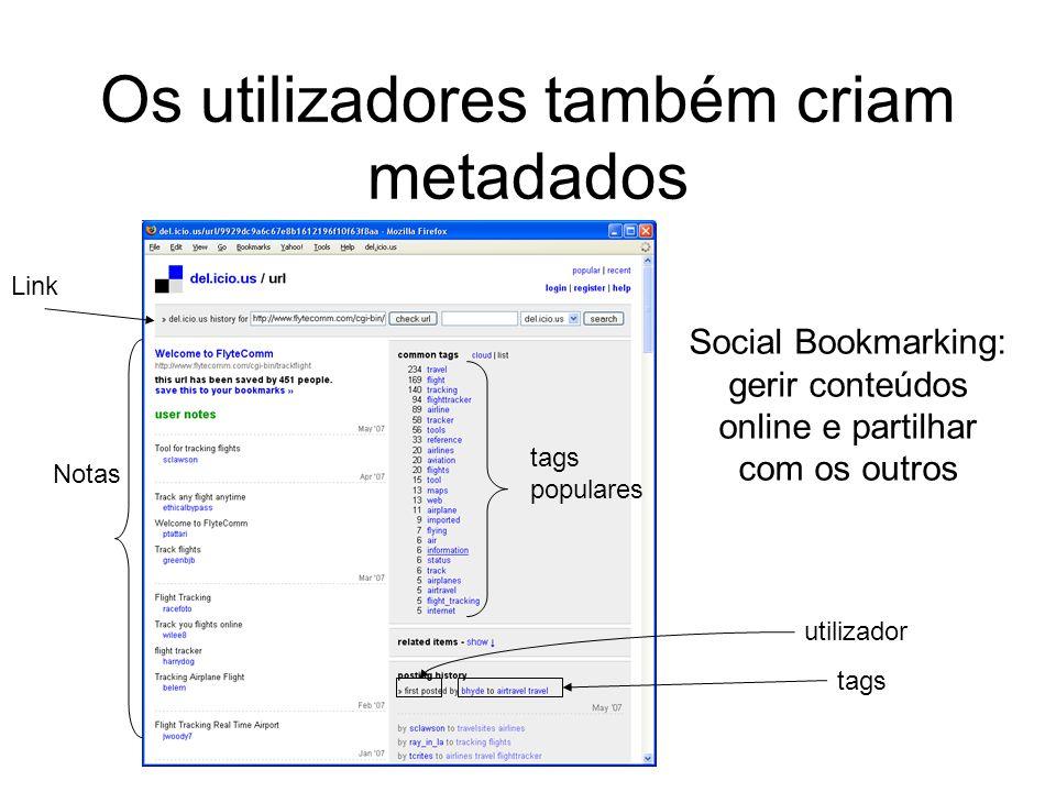 Social Bookmarking: gerir conteúdos online e partilhar com os outros Link tags populares utilizador tags Notas Os utilizadores também criam metadados