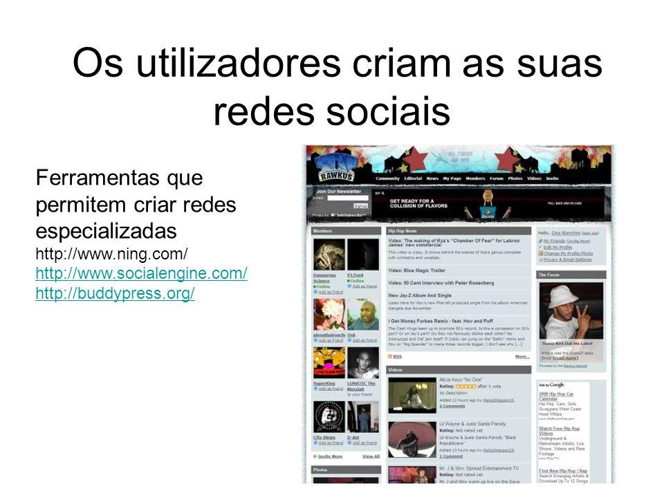 Os utilizadores criam as suas redes sociais Ferramentas que permitem criar redes especializadas http://www.ning.com/ http://www.socialengine.com/ http://buddypress.org/