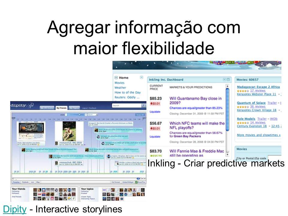 Agregar informação com maior flexibilidade DipityDipity - Interactive storylines Inkling - Criar predictive markets