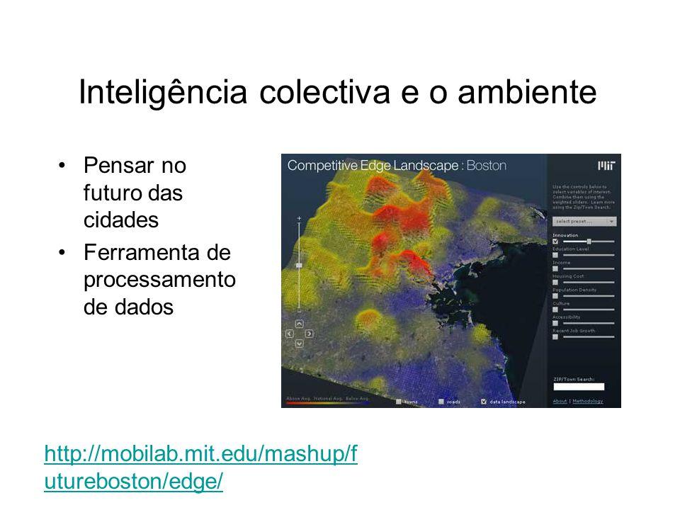 Pensar no futuro das cidades Ferramenta de processamento de dados Inteligência colectiva e o ambiente http://mobilab.mit.edu/mashup/f utureboston/edge/