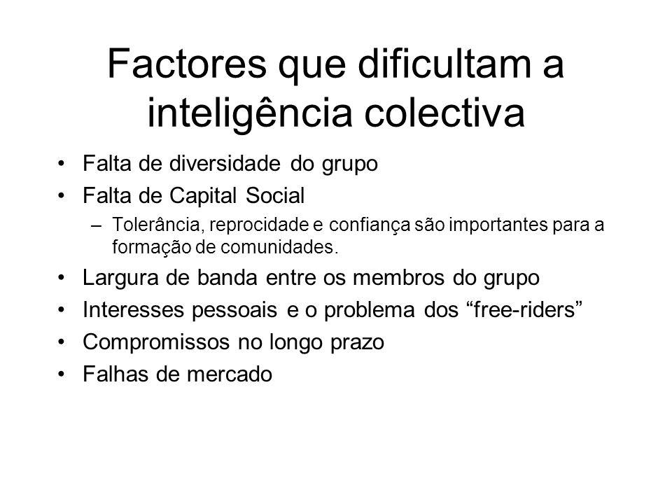 Factores que dificultam a inteligência colectiva Falta de diversidade do grupo Falta de Capital Social –Tolerância, reprocidade e confiança são importantes para a formação de comunidades.
