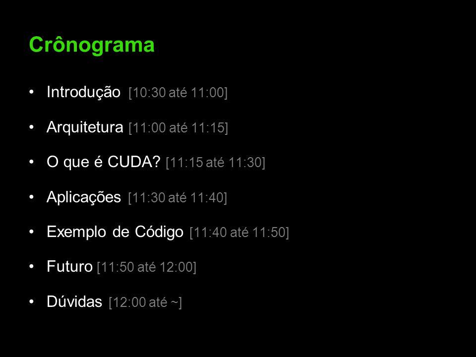 Crônograma Introdução [10:30 até 11:00] Arquitetura [11:00 até 11:15] O que é CUDA? [11:15 até 11:30] Aplicações [11:30 até 11:40] Exemplo de Código [