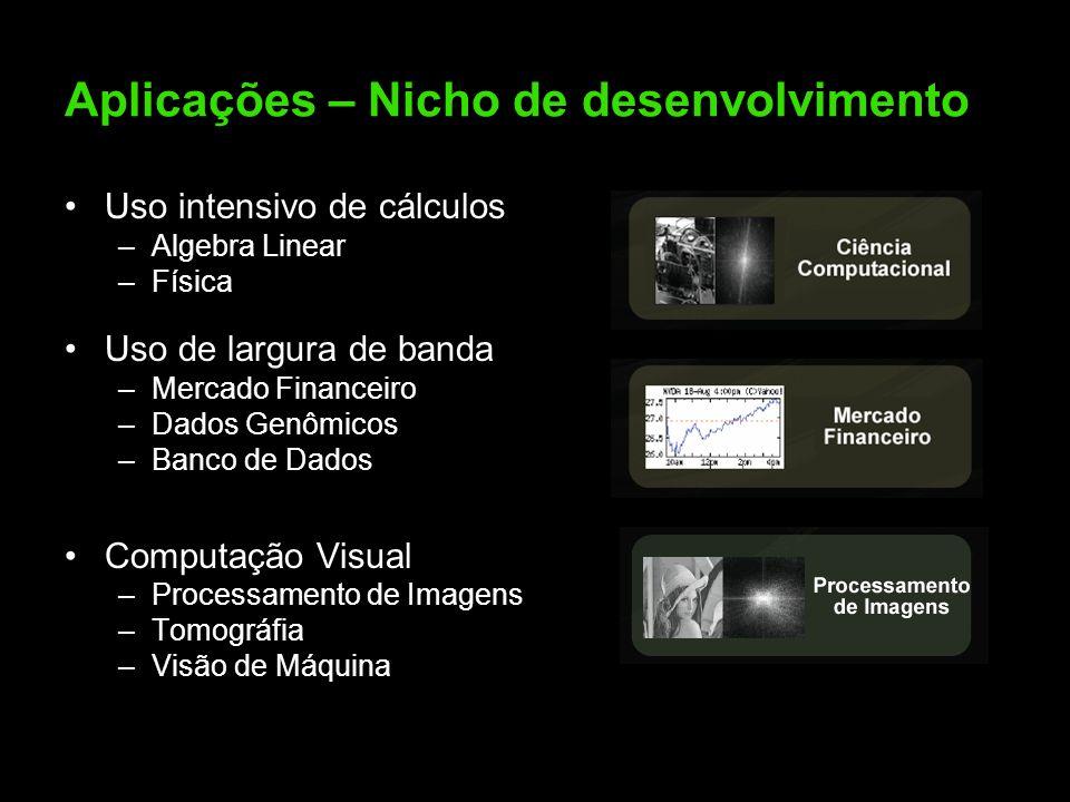 Aplicações – Nicho de desenvolvimento Uso intensivo de cálculos –Algebra Linear –Física Uso de largura de banda –Mercado Financeiro –Dados Genômicos –