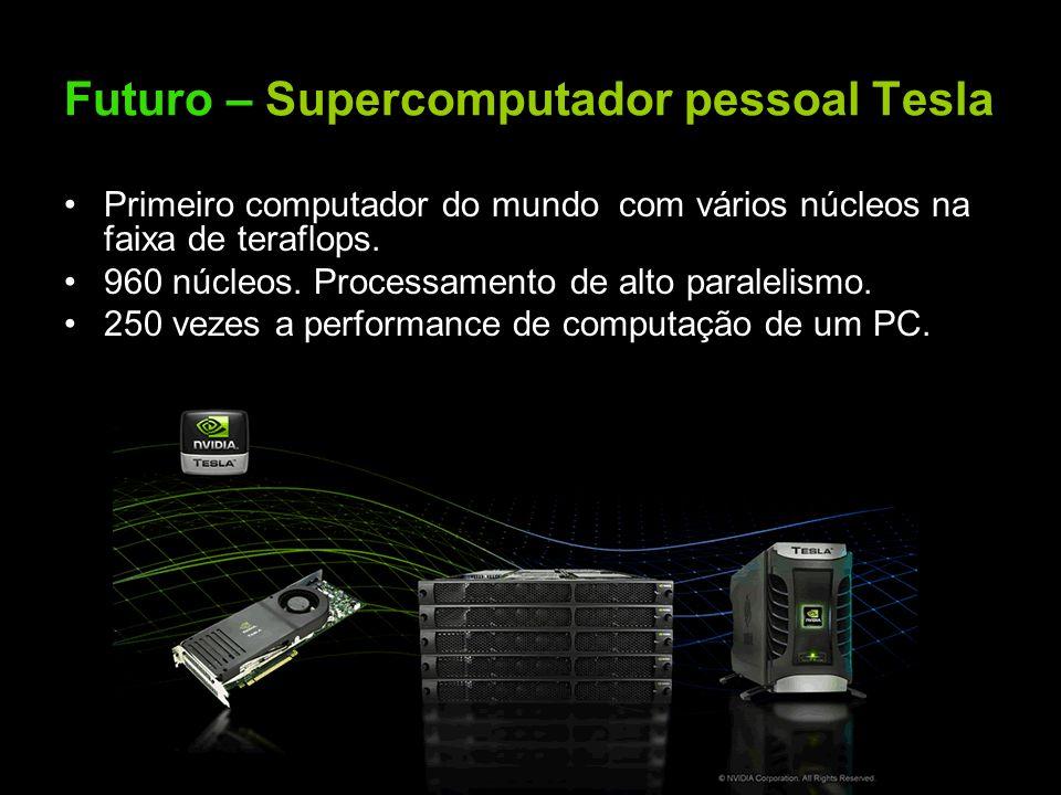 Futuro – Supercomputador pessoal Tesla Primeiro computador do mundo com vários núcleos na faixa de teraflops. 960 núcleos. Processamento de alto paral