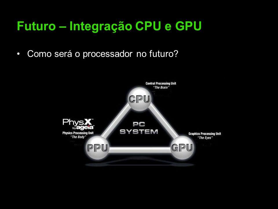 Futuro – Integração CPU e GPU Como será o processador no futuro?