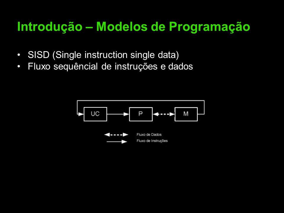 Introdução – Modelos de Programação SISD (Single instruction single data) Fluxo sequêncial de instruções e dados