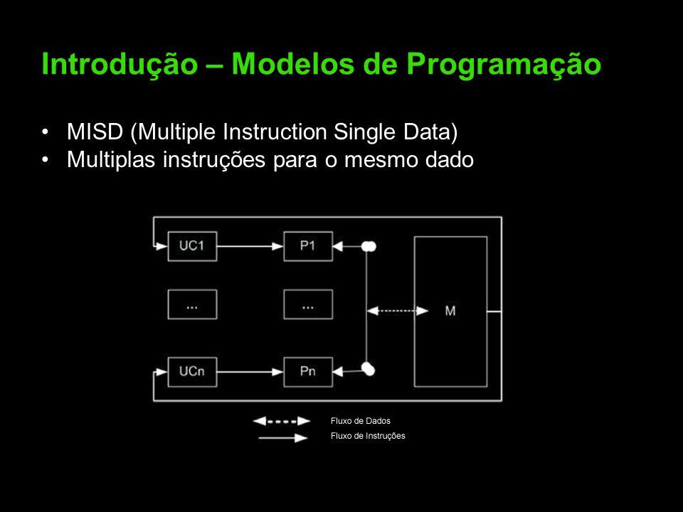 Introdução – Modelos de Programação MISD (Multiple Instruction Single Data) Multiplas instruções para o mesmo dado