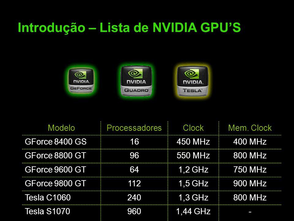 Introdução – Lista de NVIDIA GPU'S ModeloProcessadoresClockMem.