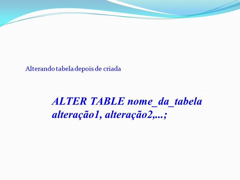 Alterando tabela depois de criada ALTER TABLE nome_da_tabela alteração1, alteração2,...;