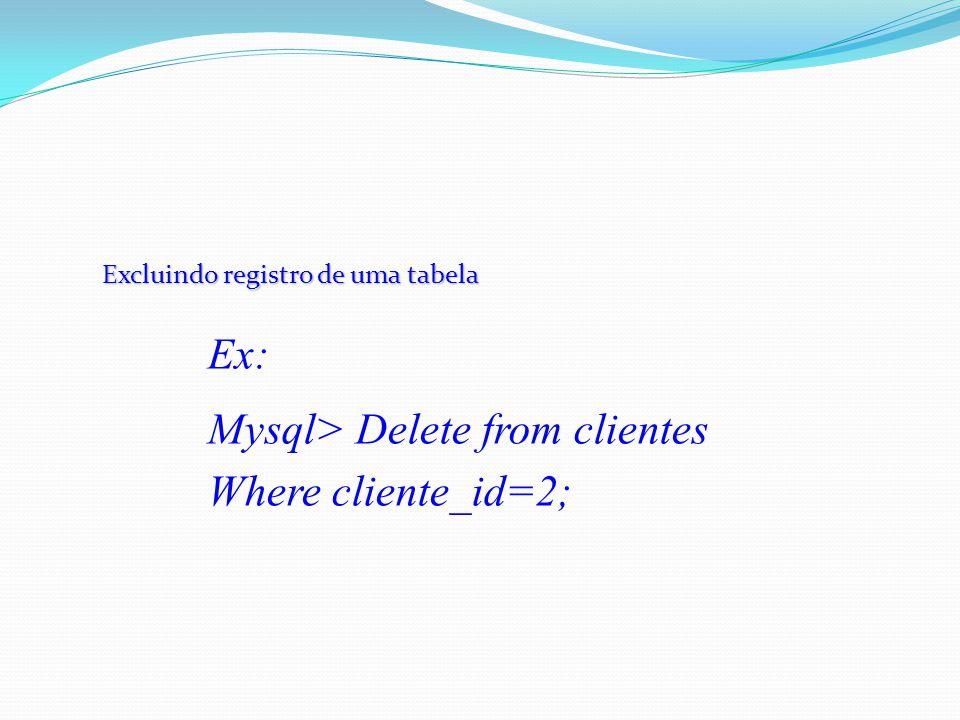 Excluindo registro de uma tabela Ex: Mysql> Delete from clientes Where cliente_id=2;
