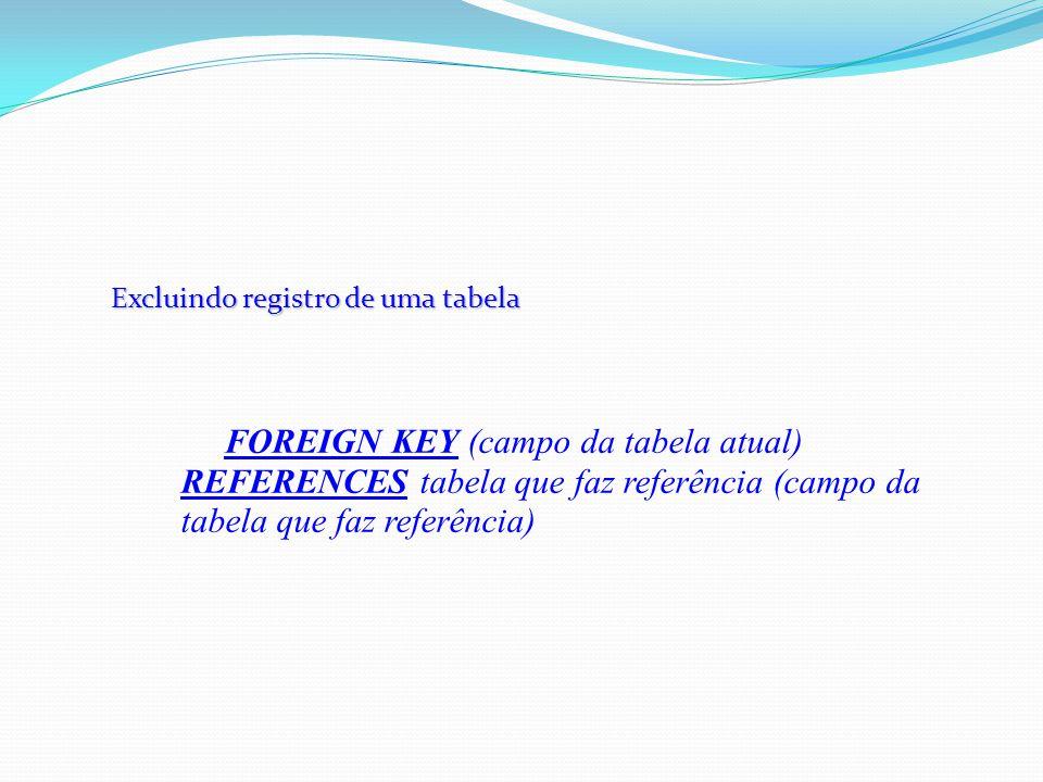 Excluindo registro de uma tabela FOREIGN KEY (campo da tabela atual) REFERENCES tabela que faz referência (campo da tabela que faz referência)