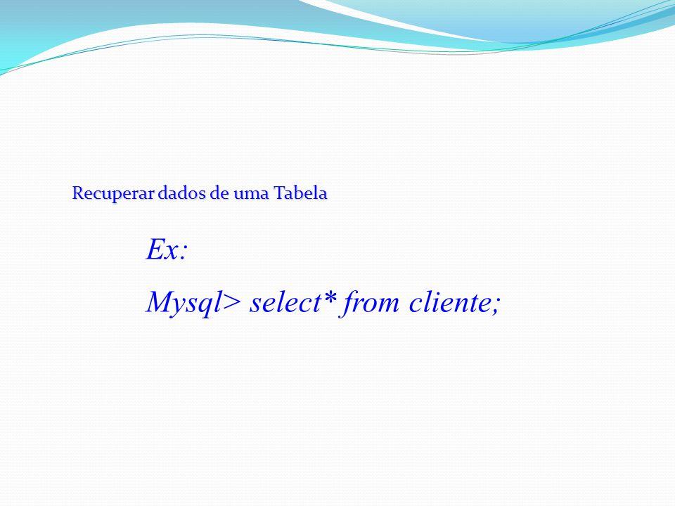 Recuperar dados de uma Tabela Ex: Mysql> select* from cliente;
