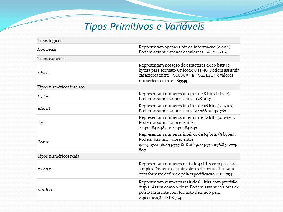 Tipos Primitivos e Variáveis Tipos lógicos boolean Representam apenas 1 bit de informação (0 ou 1).