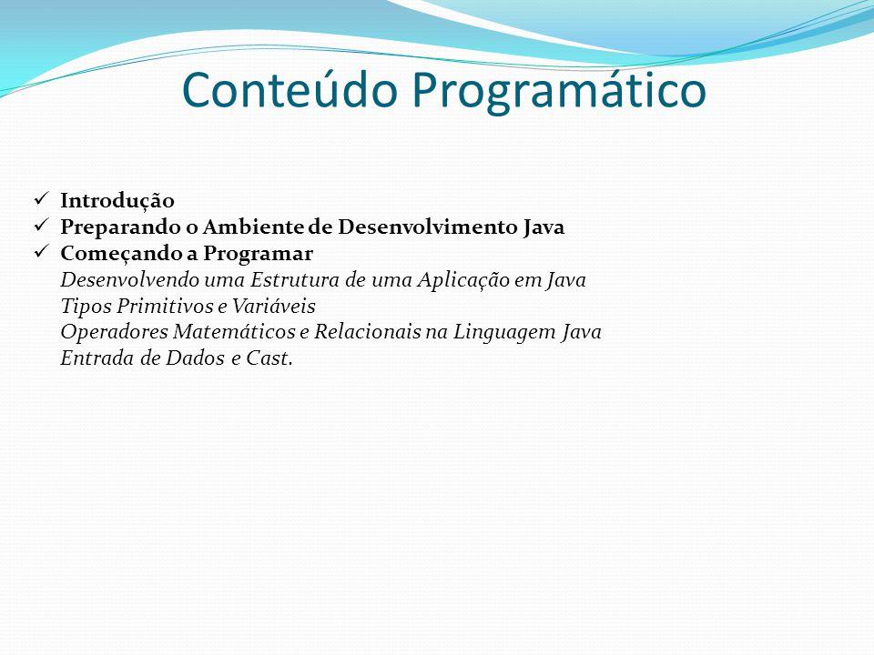 Conteúdo Programático Introdução Preparando o Ambiente de Desenvolvimento Java Começando a Programar Desenvolvendo uma Estrutura de uma Aplicação em J