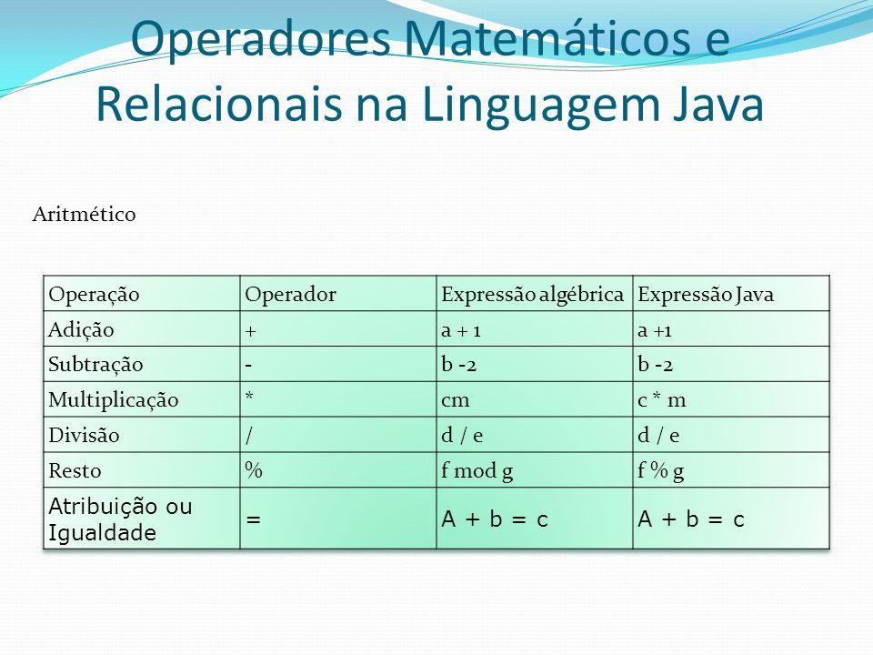 Operadores Matemáticos e Relacionais na Linguagem Java Aritmético
