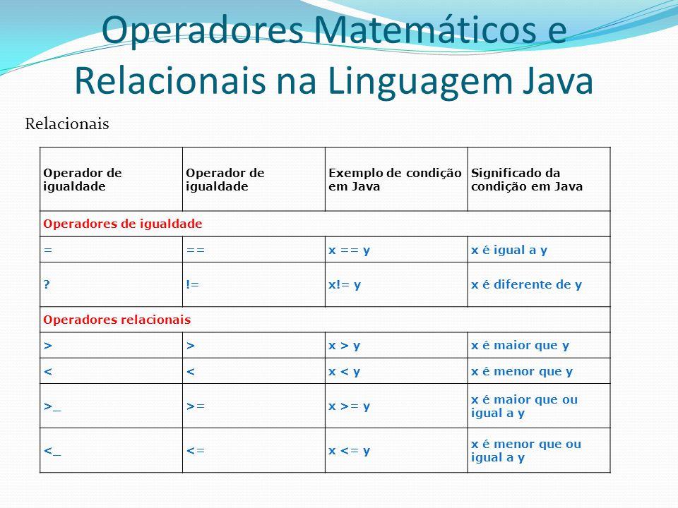 Operadores Matemáticos e Relacionais na Linguagem Java Relacionais Operador de igualdade Exemplo de condição em Java Significado da condição em Java O