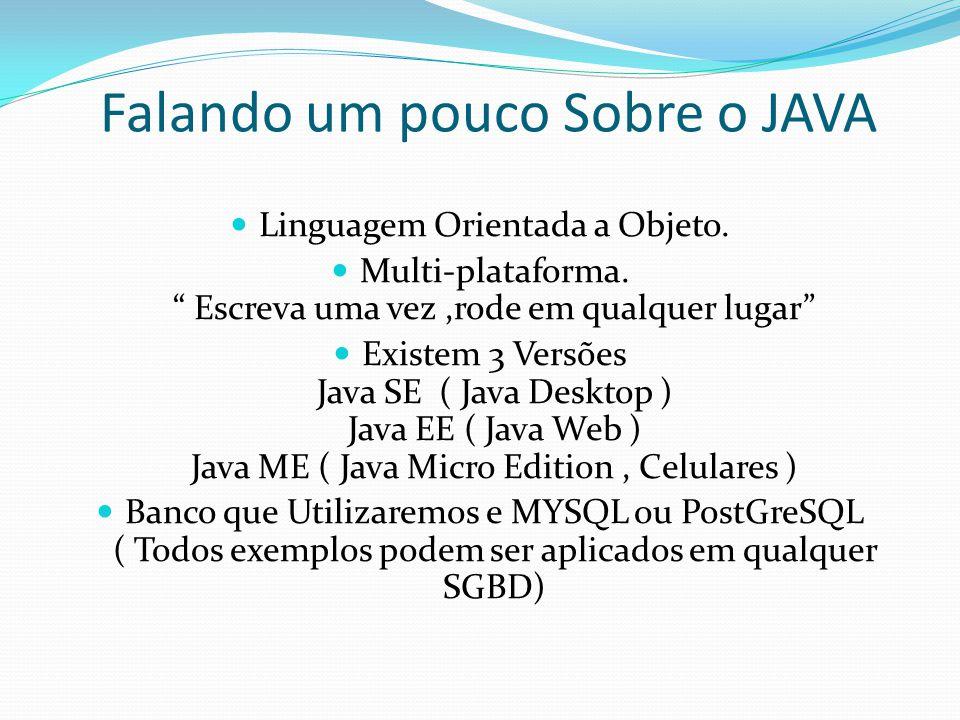 """Falando um pouco Sobre o JAVA Linguagem Orientada a Objeto. Multi-plataforma. """" Escreva uma vez,rode em qualquer lugar"""" Existem 3 Versões Java SE ( Ja"""