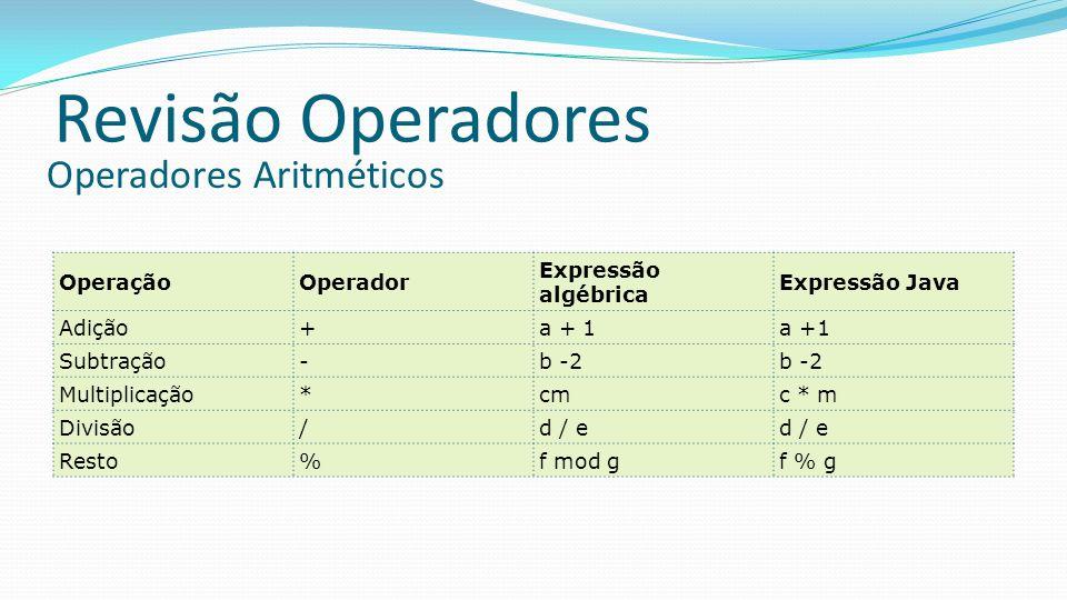 Revisão Operadores OperaçãoOperador Expressão algébrica Expressão Java Adição+a + 1 Subtração-b -2 Multiplicação*cmc * m Divisão/d / e Resto%f mod gf % g Operadores Aritméticos