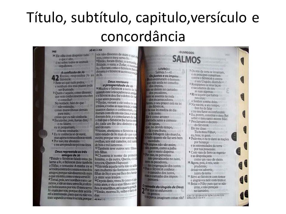 Título, subtítulo, capitulo,versículo e concordância