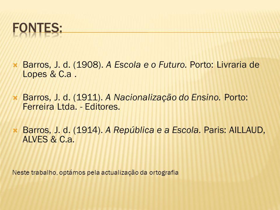  Barros, J. d. (1908). A Escola e o Futuro. Porto: Livraria de Lopes & C.a.  Barros, J. d. (1911). A Nacionalização do Ensino. Porto: Ferreira Ltda.