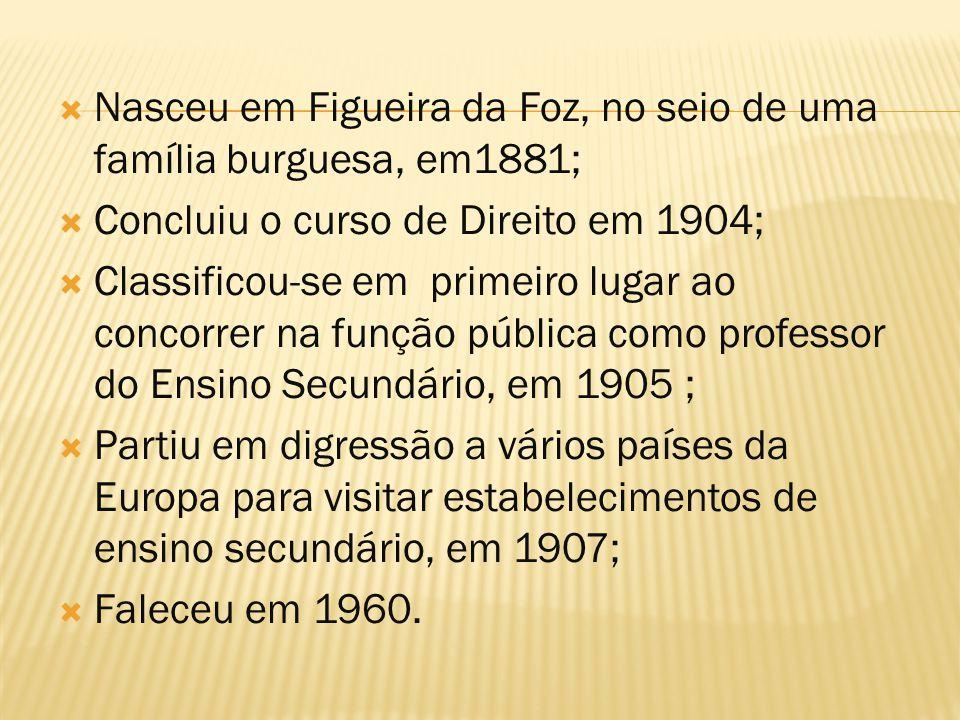 Nasceu em Figueira da Foz, no seio de uma família burguesa, em1881;  Concluiu o curso de Direito em 1904;  Classificou-se em primeiro lugar ao con