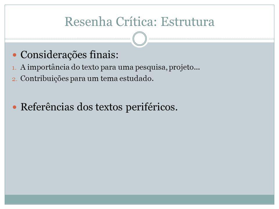 Resenha Crítica: Estrutura Considerações finais: 1. A importância do texto para uma pesquisa, projeto... 2. Contribuições para um tema estudado. Refer