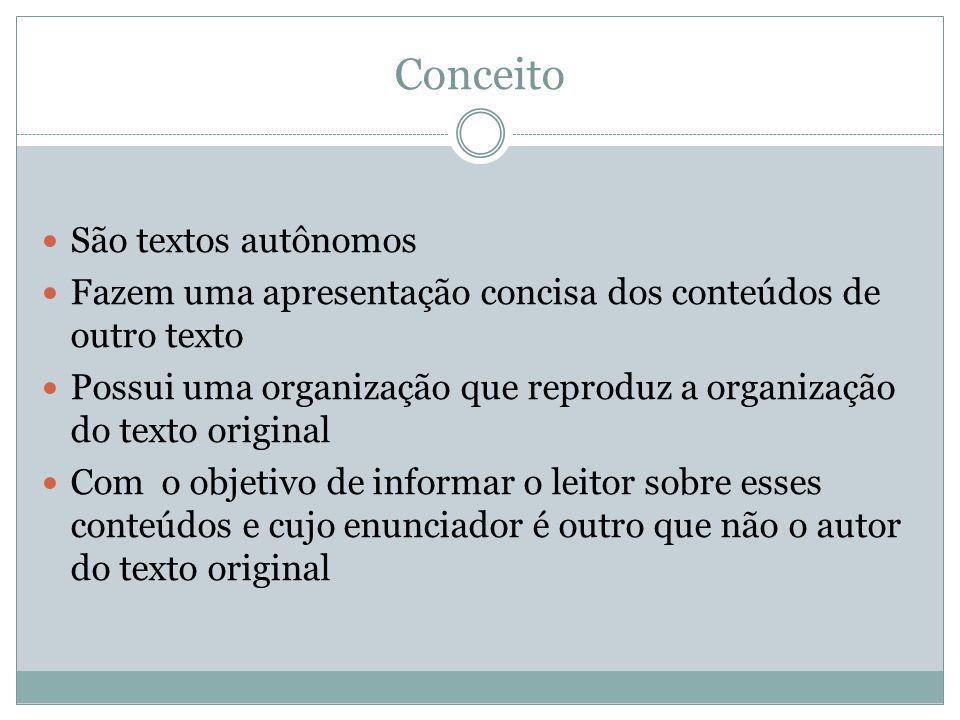 Conceito São textos autônomos Fazem uma apresentação concisa dos conteúdos de outro texto Possui uma organização que reproduz a organização do texto o