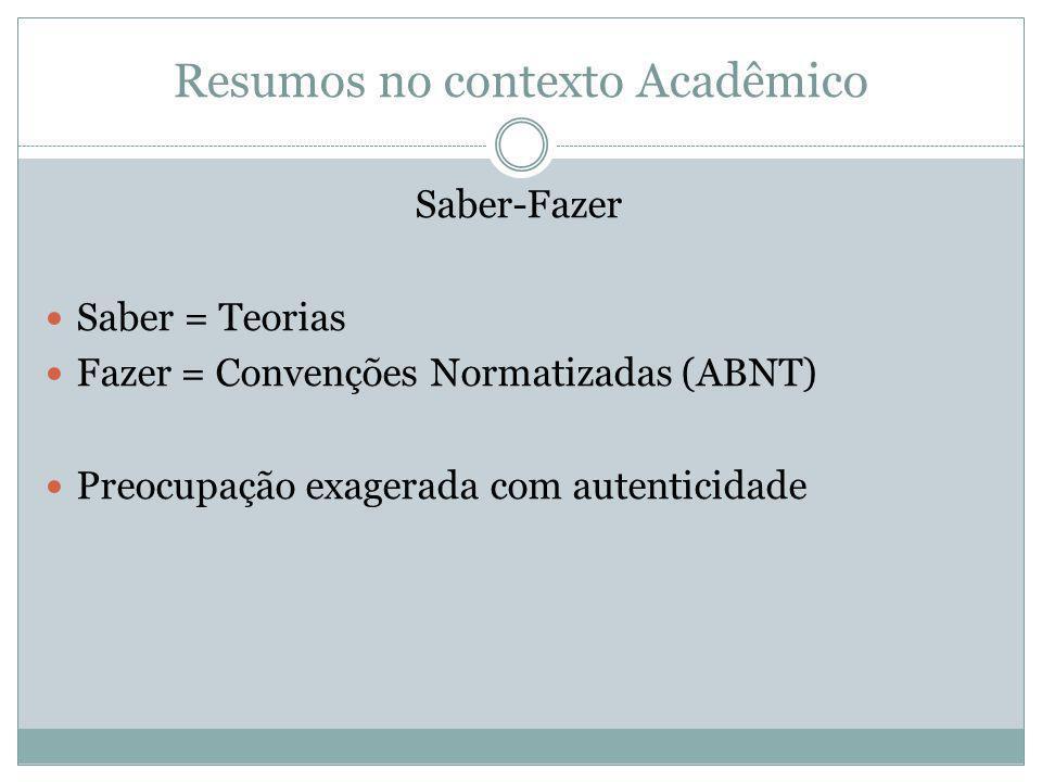 Resumos no contexto Acadêmico Saber-Fazer Saber = Teorias Fazer = Convenções Normatizadas (ABNT) Preocupação exagerada com autenticidade
