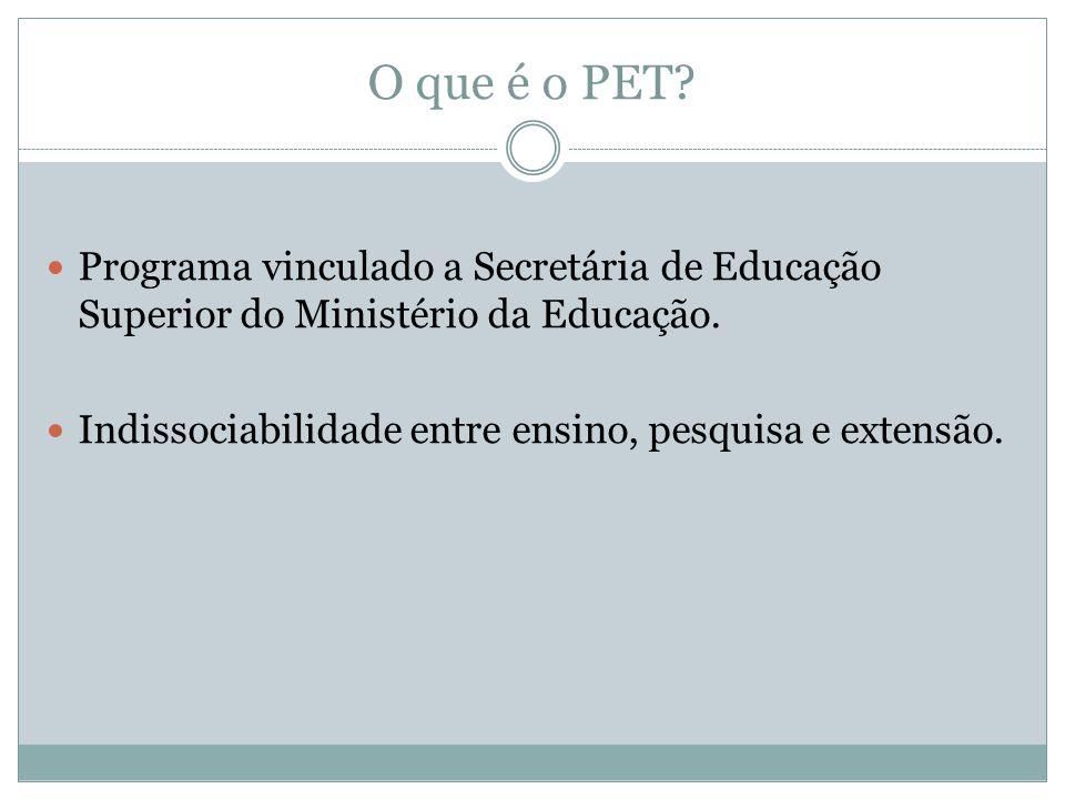 O que é o PET? Programa vinculado a Secretária de Educação Superior do Ministério da Educação. Indissociabilidade entre ensino, pesquisa e extensão.